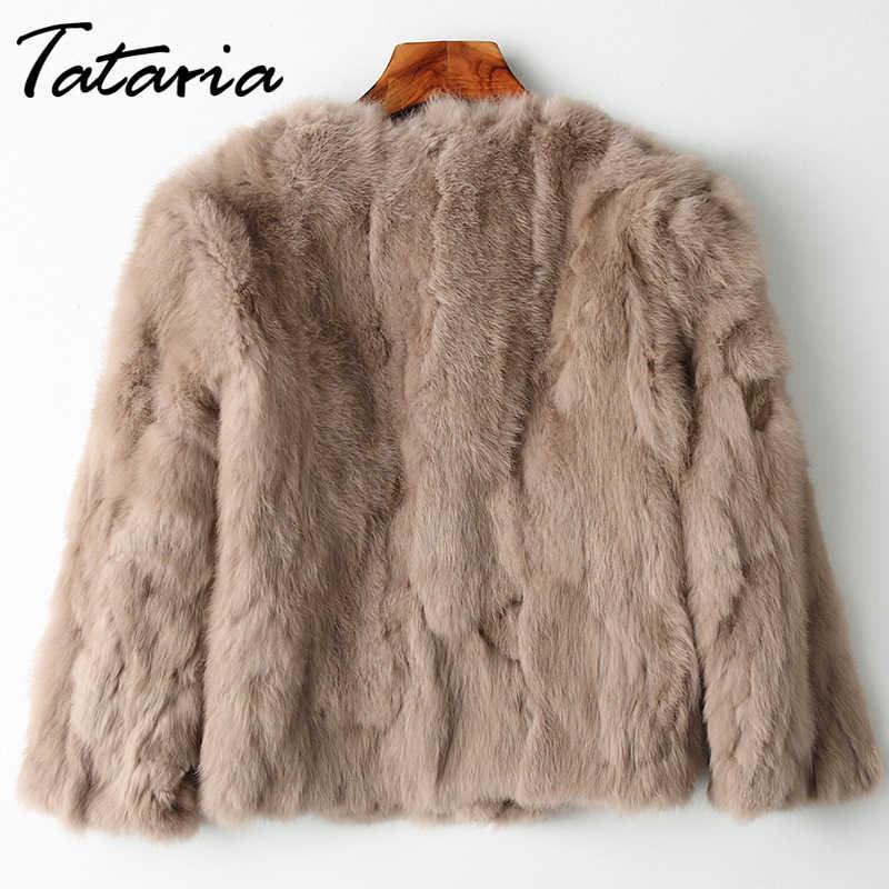 Tataria 本物のウサギの毛皮レディースロングスリーブプラスサイズオーバーコート女性の本物のウサギのコート女性ぬいぐるみコート
