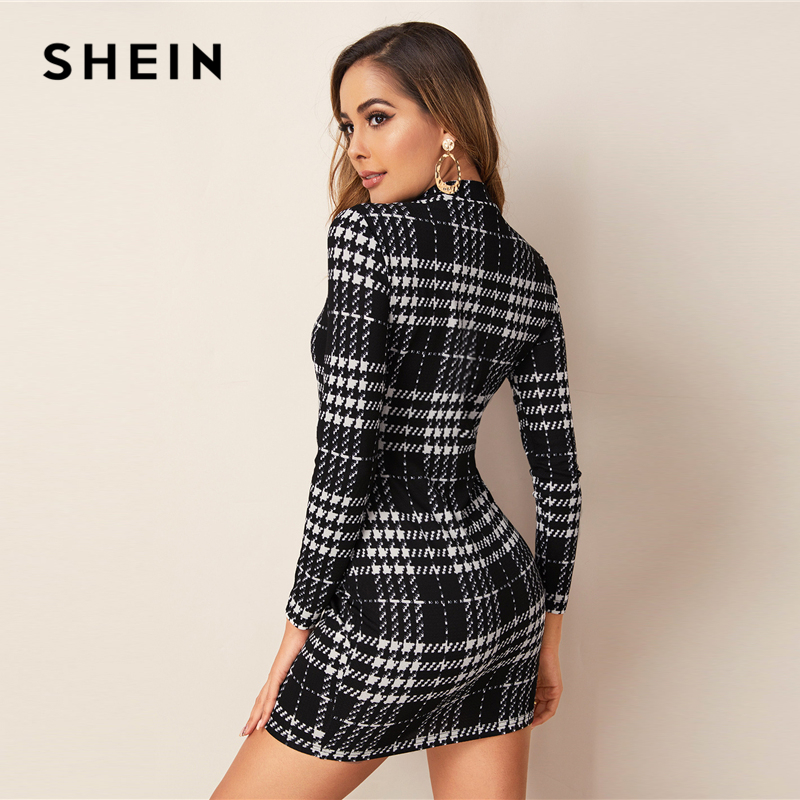 Shein Black And White Plaid Stand Collar Elegant Dress Women's Dresses Women's Shein Collection