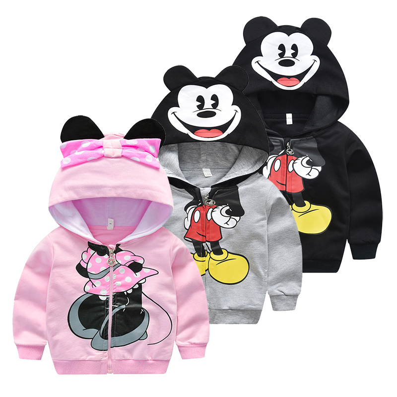 Children Little Boys Girls Autumn Sweater Kids Outfits Miki Mouse Moleton Cotton Jacket Hooded Sport Wear For 1 2 3 4 5 Years(China)