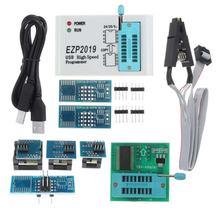 Ezp2019 conjunto completo de alta velocidade usb spi programador + 8 adaptador sop8 clipe de teste sop8/16 suporte 24 25 93 eeprom 25 flash bios chip