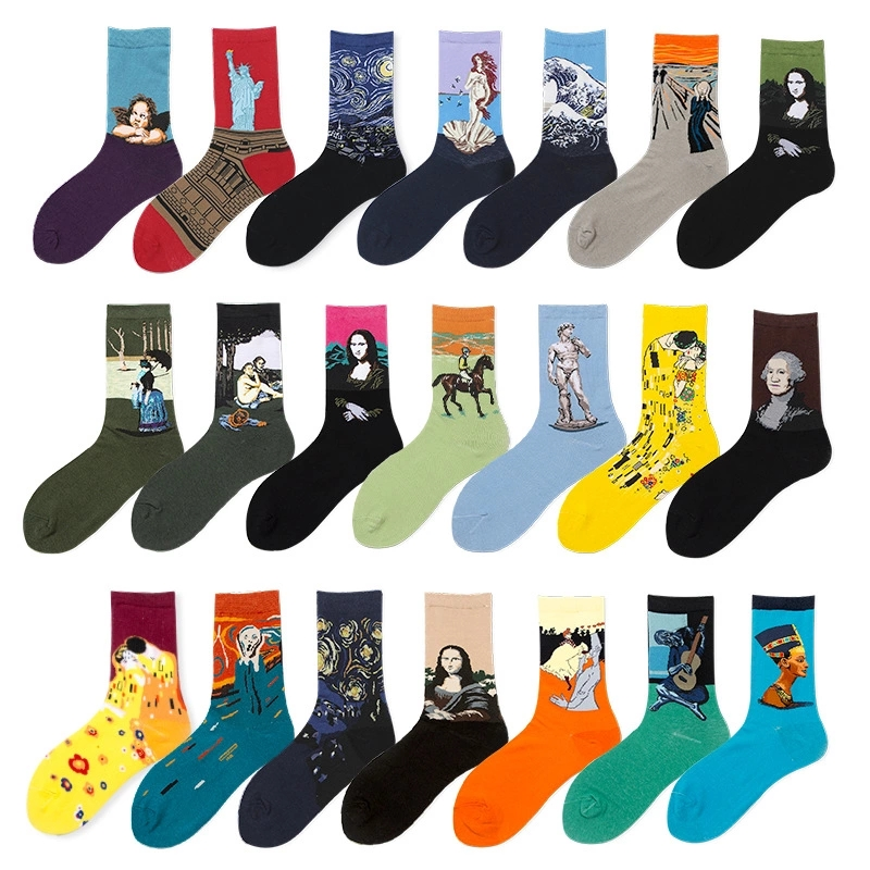 Men's Quality Individual Design Creative Oil Painting Color Breathable Cotton Medium Socks