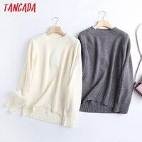 Tangada Frauen 2021 Mode Elegante Beige Gestrickte Pullover Jumper O Hals Weiblich Oversize Pullover Chic Tops 6D24
