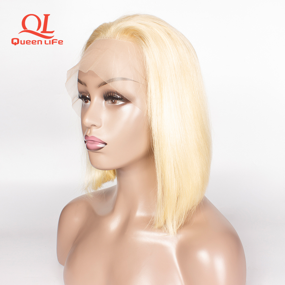 Queenlife Short 613 blonde Bob wigs Lace Front Human Hair Wigs 13x4 Brazilian Remy Hair pre