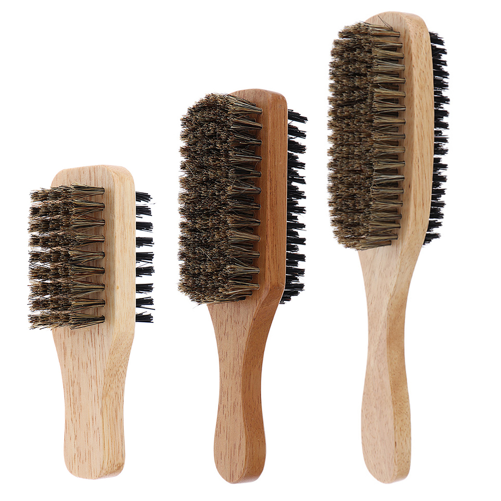 Mens Boar Bristle Hair Brush - Natural Wooden Wave Brush For Male, Styling Beard Hairbrush For Short,Long,Thick,Curly,Wavy Hair