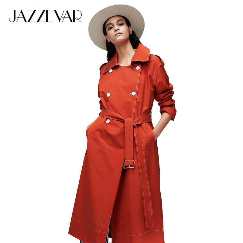 JAZZEVAR2019 New arrival autumn trench coat women top red color cotton double breasted long fashion style with high quality 9020(China)