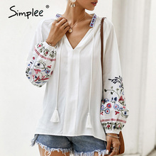 Simplee Embroidery vintage ethnic women blouse shirt Sexy long sleeve casual wor
