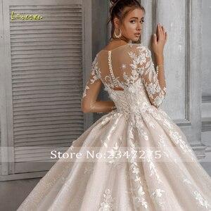 Image 3 - Loverxu Appliques 긴 소매 레이스 볼 가운 웨딩 드레스 2020 럭셔리 환상 페르시 예배당 기차 빈티지 신부 가운