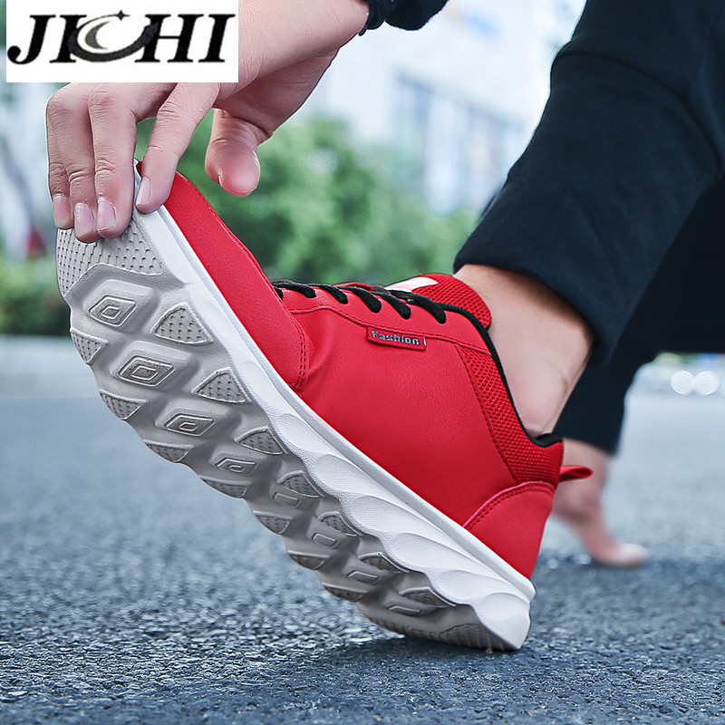 JICHI Men Casual Shoes Leather Breathable Men Sneakers Comfortable Walking Shoes Lightweight Rubber Couple Sneakers for Men 6