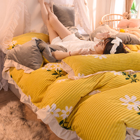 Princess Style AB Magic Velvet Baby Velvet 4pcs Duvet Cover Flat Fitted Bed Sheet Pillowcase Ruffles Daisy Yellow Flowers Fruit
