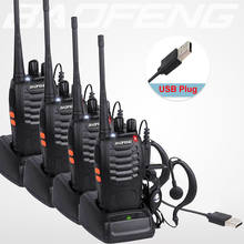 Hot 4pcs/Lot BaoFeng Walkie Talkie USB Charge Adapter BF-888S UHF 400-470MHZ 2-Way Radio 16CH Long Range With Baofeng EarphoneLN