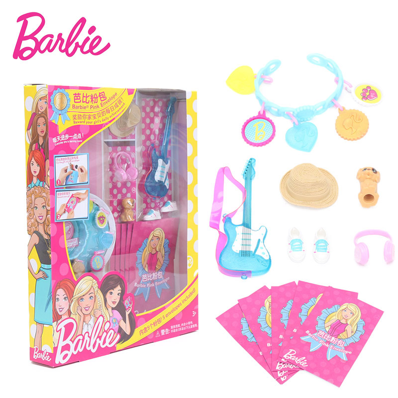 Original Barbie Pink Envelope Barbie Accessories with 5 Pink bag shoes Violin Camera rabbit Doll Fashion Barbie Doll FGC40 image