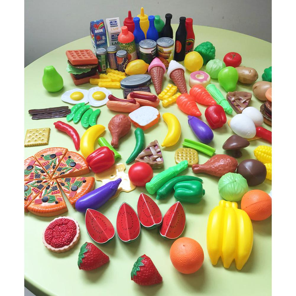 HobbyLane 120 Pcs Plastic Food Fruits Vegetables Toy Set Kitchen Pretend Play Toy For Boys And Girls