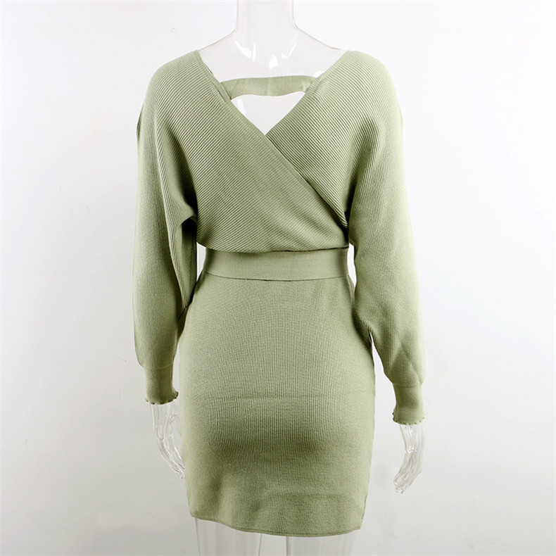 Long Sleeve Sashes Tied Knitted Wrap Sweater Dress 15