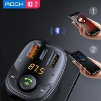 ROCK B301 Bluetooth Car FM Trasmettitore USB PD Caricabatteria Da Auto Veloce di Ricarica Rapida di Monitoraggio per I Telefoni MP3 Player Dual DEGLI STATI UNITI 36W