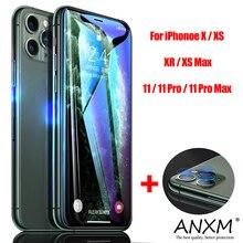 Verre trempé pour iPhone X XR XS 11 Pro Max protecteur décran arrière caméra lentille sur téléphone protection pour iPhone 11 Pro Max verre