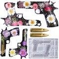 3D Gun Form Silikon Form Geprägt Pistole Spielzeug Kristall Epoxy Harz Handwerk Getrockneten Blumen Set DIY Schmuck Machen Anhänger Form