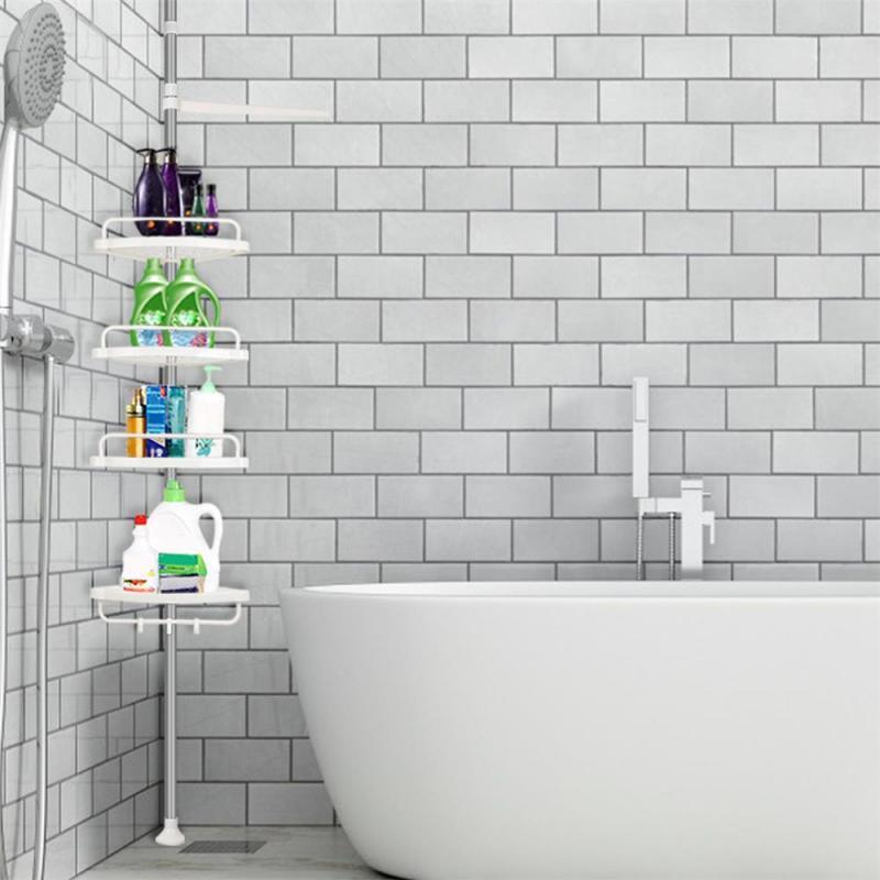 Stainless Steel Bathroom Triangle Rack White 4 Shelves Telescopic Adjustable Shelf Hardware Bathroom Fixture 254-304cm HWC