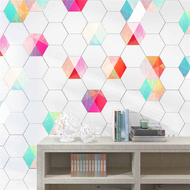 10PCs Self Adhesive Tile Waterproof PVC Wallpaper Stickers For Kitchen/ Bathroom/ Living Room Decorations