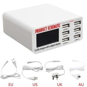 Image 5 - الاتحاد الافريقي/الاتحاد الأوروبي/الولايات المتحدة/المملكة المتحدة التوصيل 6A 6 منفذ USB سريع شاحن الجدار محول الشحن شاشة LCD دروبشيب
