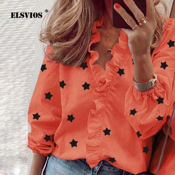 Wzburzyć Daisy Stars drukuj wiosenna bluzka koszule damskie elegancki swobodny Top 2020 nowy letni seksowny dekolt z długim rękawem Blusas Plus rozmiar tanie i dobre opinie ELSVIOS COTTON Poliester REGULAR V-neck WOMEN Ruffles Pełna Na co dzień Suknem 07828 Ladies Tops Vestidos Elegantes Streetwear Work Wear Shirt