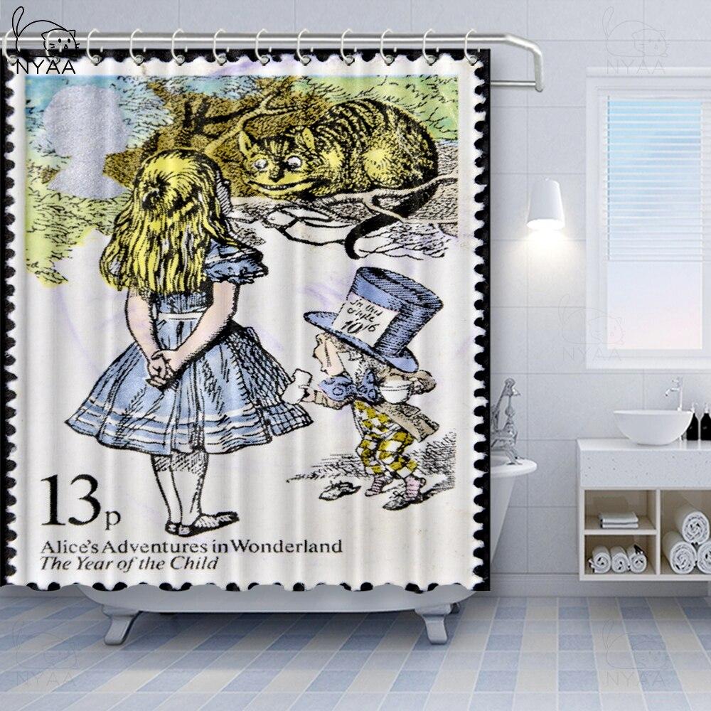 Custom Alice in Wonderland Vintage Adventures Decorative Fabric Shower Curtain