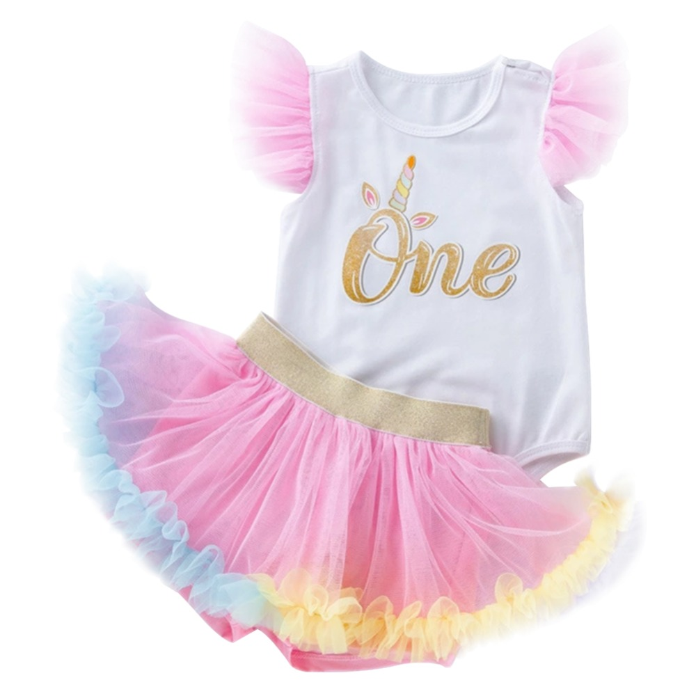 3 Pc Kids Baby Girl First 1st Birthday Romper Tutu Skirt Cake Party Outfit USA