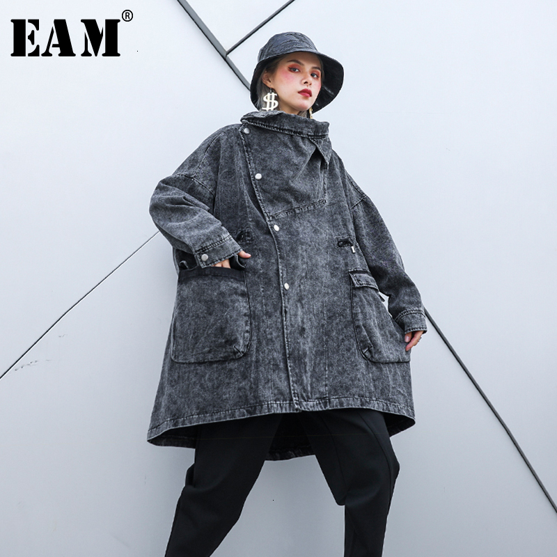 [EAM] Loose Fit Balck Denim Oversized Long Jacket New Lapel Long Sleeve Women Coat Fashion Tide Autumn Winter 2020 1H344