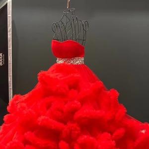 Image 5 - J6662 Jancember מרובה צבע שמלת ערב 2020 sashes מתוקה עם שרוולים קריסטל לפרוע תחרה עד בחזרה
