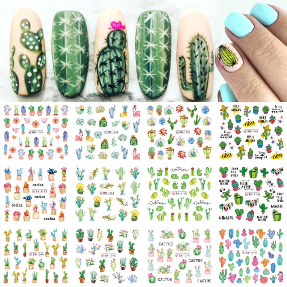 12 Ontwerpen Nail Art Stickers Sliders Cactus Abstracte Vrouw Polish Foil Nail Wraps Water Transfer Decals Set NFBN1261-1272