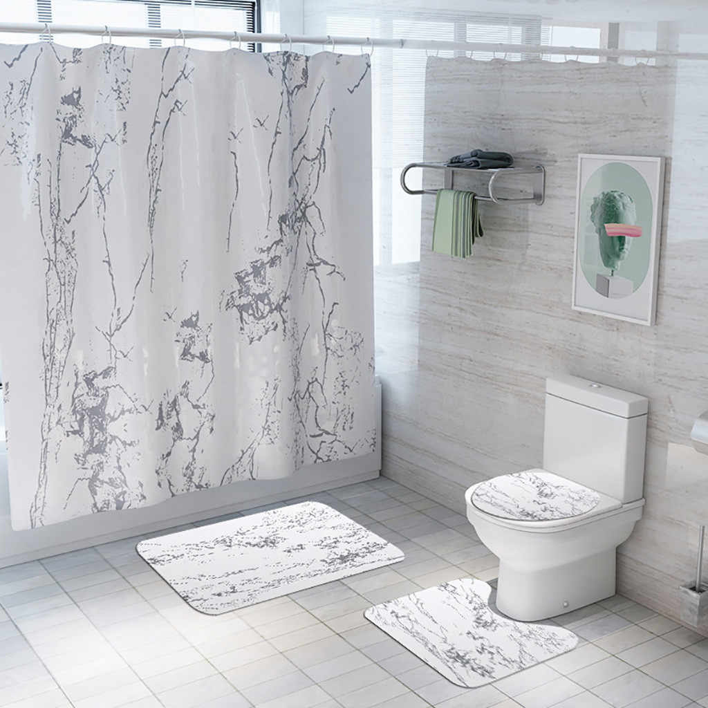 4 PC クリエイティブ浴室付属品家の装飾亀裂カーテン床マット 4 ピース浴室マットセット無料船 для ванной Z4