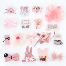Cartoon Princess Hair Clip set Girl bows flowers Cat ears Cute Clips Pink girl headdress Animal hair clip