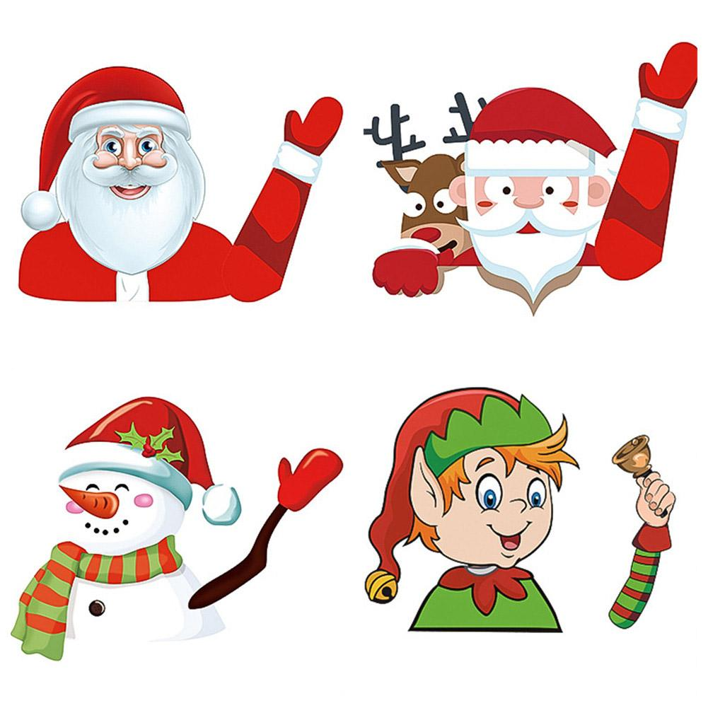 Car Rear Windshield Wiper Decor Christmas Car Decals Tags Car Styling Rear Wiper Sticker Cute Santa Claus Waving Car Stickers