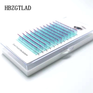 HBZGTLAD New C/D 8-15mm false lashes Gradient Water Blue + Rose red Reeyelash individual colored lashes Faux eyelash extensions(China)
