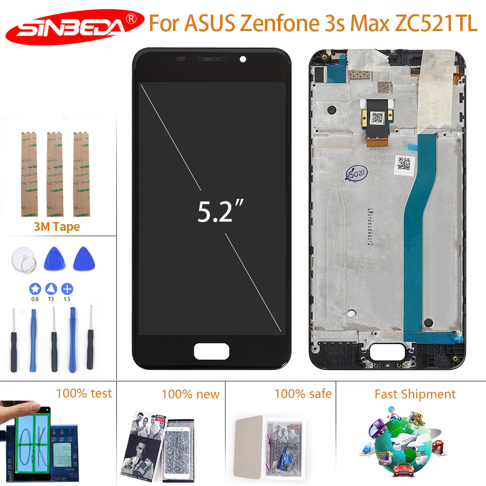 Gold YANGJIAN LCD Screen and Digitizer Full Assembly with Frame for Asus Zenfone 3S Max ZC521TL X00GD Color : Gold