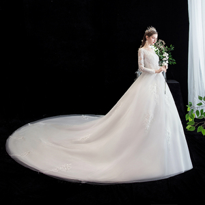 Image 3 - Fashion simple V Neck Backless Wedding Dress 2020 New Arrvial long sleeve train 100 cm Applique princess Brida Robe De Mariee
