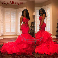African Red Prom Dresses Sexy Cutaway Sides Appliques Beads Tiered Mermaid Evening Dress Sleeveless Black Girls Party Gowns