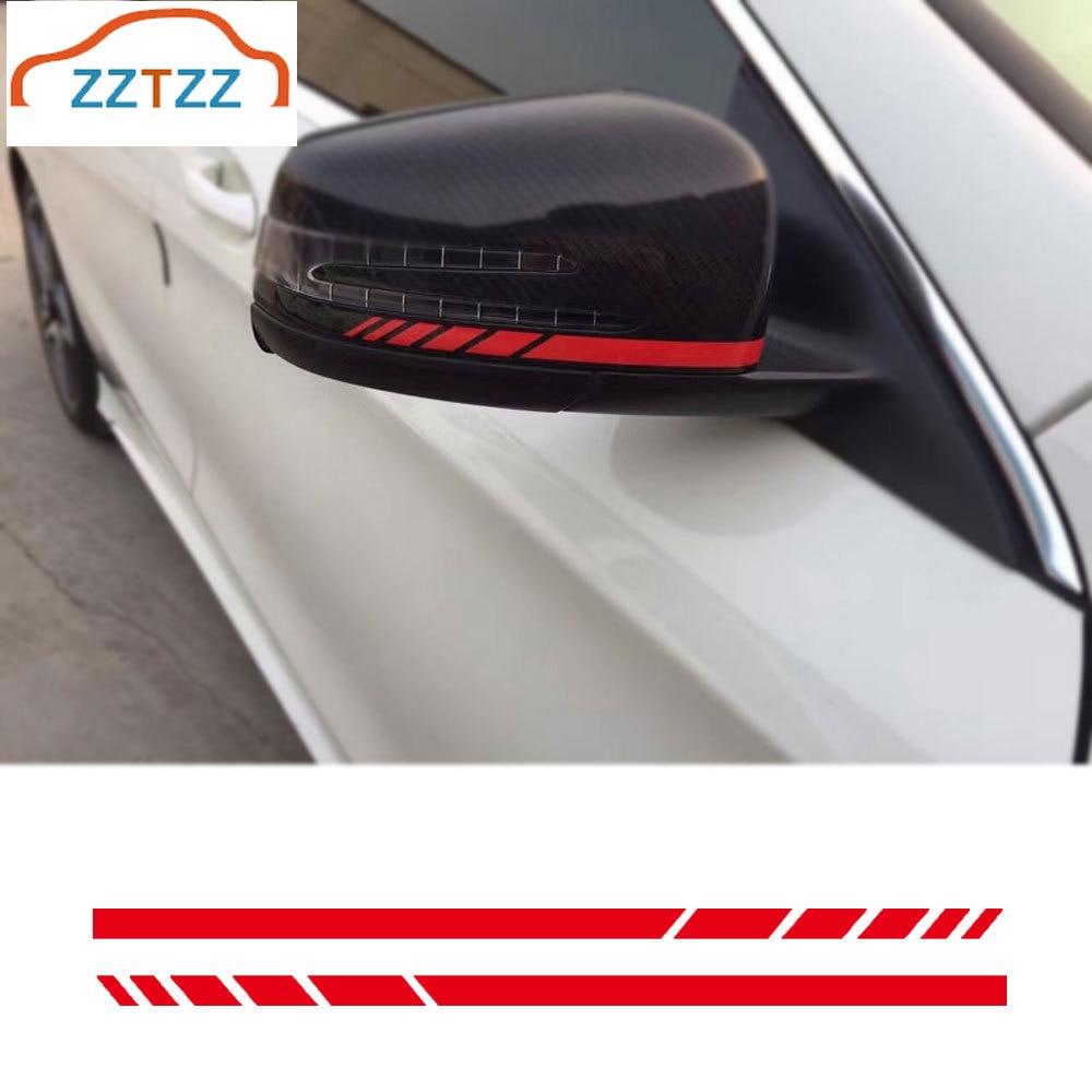 1Pair Car Rear View Mirror Sticker Reflective Decal Vinyl Sticker Decal Stripe Sticker for   A C E Class W204 W212