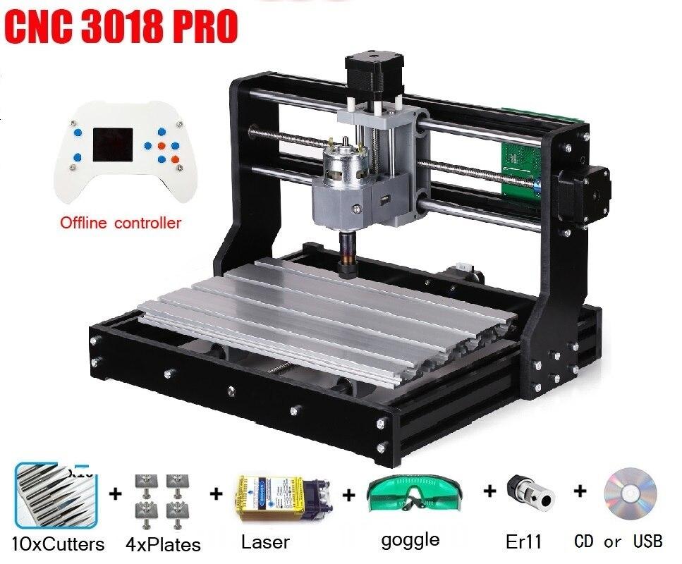 CNC 3018 PRO Gravador Do Laser Máquina de Gravura do CNC Madeira Máquina Router GRBL ER11 Passatempo DIY para PCB Madeira PVC Mini CNC3018 Gravador