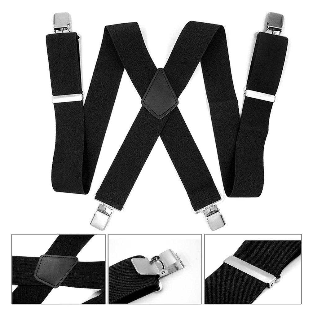Adjustable Black Suspenders Trousers Men Classic Pants Strap X Back 120CM Casual Retro Trouser Braces 4 Clips Elastic Belt 2020