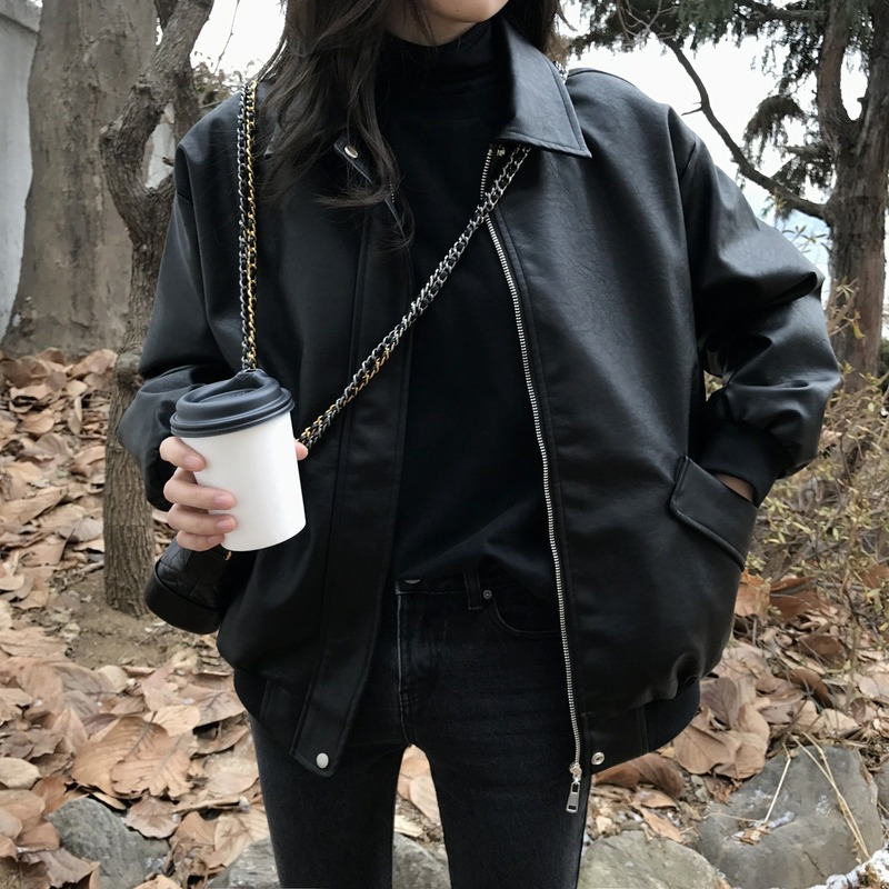 Женская байкерская куртка из искусственной кожи, красная или белая Свободная куртка из искусственной кожи с отложным воротником, верхняя о...