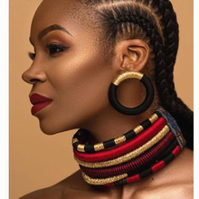 Liffly Brand Necklace Earrings Multi-layer Woven Jewelry Choker Bridal Wedding African Beads Set for Women