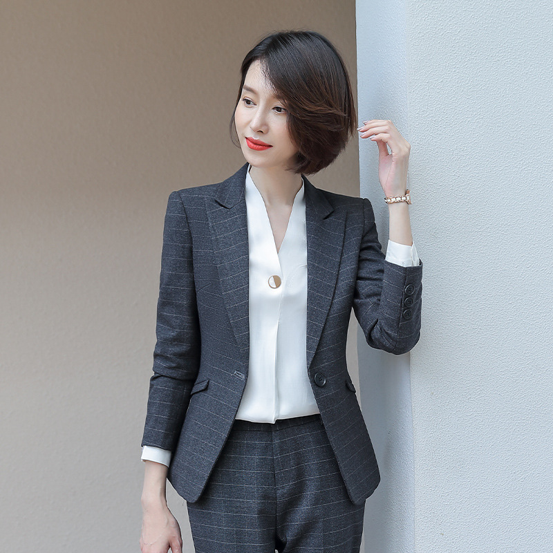 High Quality Women's Suits Skirt Suit Large Size S-4XL Long Sleeve Check Professional Blazer Female Slim Trouser Suit 2019 New