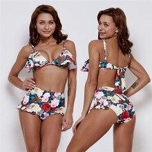 Sexy Women Swimsuit Bandage Bikinis Brazilian High Waist Swimwear  Set Ruffle Floral Print Biquini