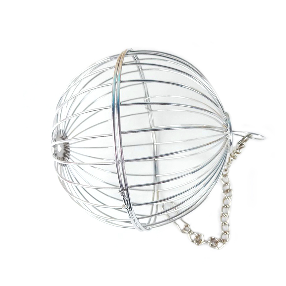 13cm Stainless Steel font b Pet b font Toys Round Sphere Feed Dispenser Exercise Hanging Hay