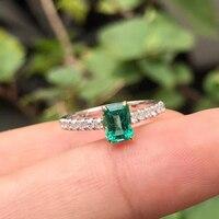 AEAW Jewelry 18K White Gold 0.5ct Natural Real Emerald Ring Anniversary Real Diamond Ring Green Gemstone Ring Women Jewelry