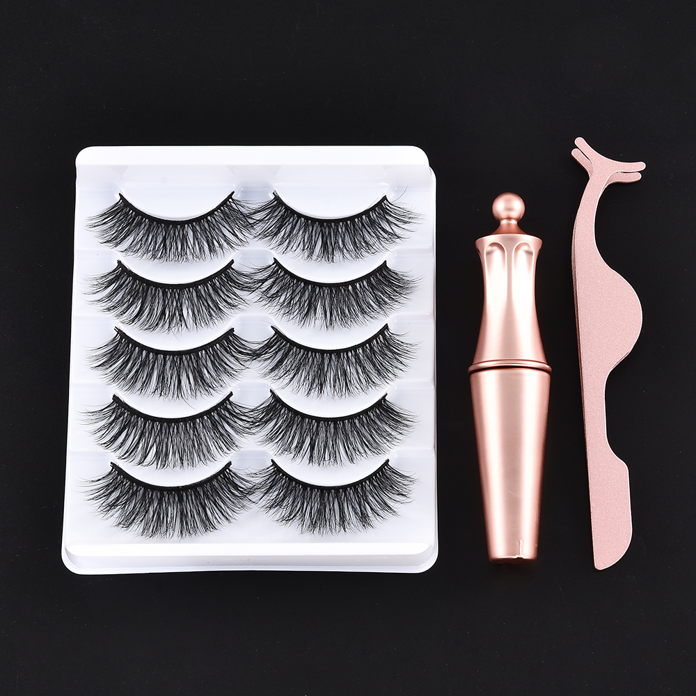 5/3 Magnet Eyelash Magnetic Liquid Eyeliner & Magnetic False Eyelashes & Tweezer Set Waterproof Long Lasting Eyelash Extension 6
