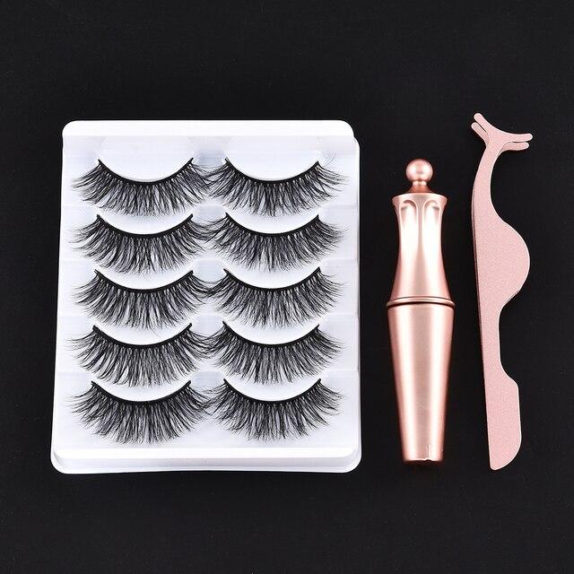 5/3 Magnet Eyelash Magnetic Liquid Eyeliner & Magnetic False Eyelashes & Tweezer Set Waterproof Long Lasting Eyelash Extension 6