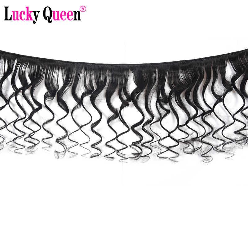 Peruviana Onda Allentata 3 Bundle Con Chiusura Non Capelli di Remy 4 pz/lotto 100% Fasci di Capelli Umani Con Chiusura Fortunato queen Hair prodotti
