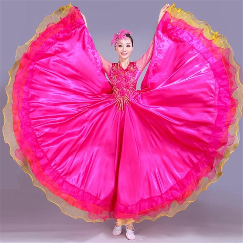 Новый бренд, хит продаж, современный женский костюм для танцев, большая юбка-свинг, женский костюм с двойным рукавом, цветочный костюм с