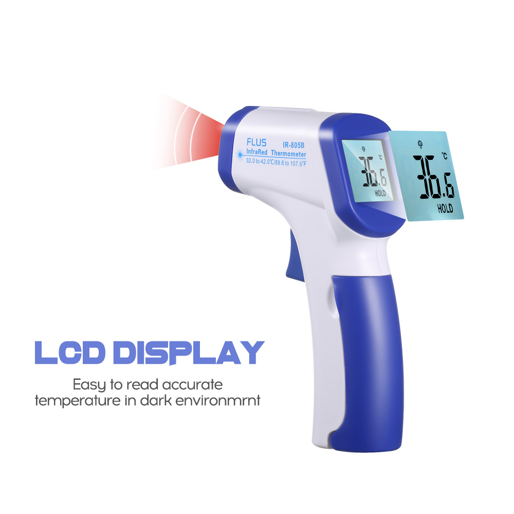 TempCheck Infrared Thermometer The non-contact IR infrared thermometer helps prevent any cross contamination when compared to typical thermometers. The backlit LCD screen is easy to read in the dark and makes taking temperature a breeze.